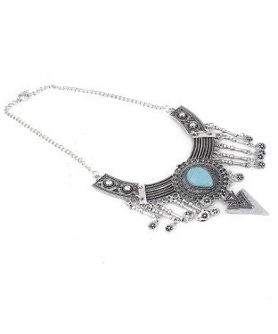 aradhya Silver Plated Metal, Stone Necklace
