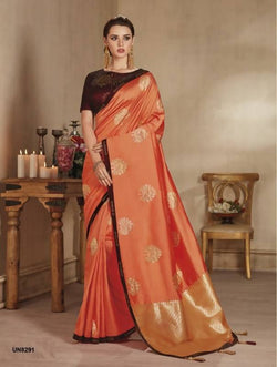 Umang NX Orange Banarasi Silk Designer Weaving & Embroidery Sarees $ UN8291
