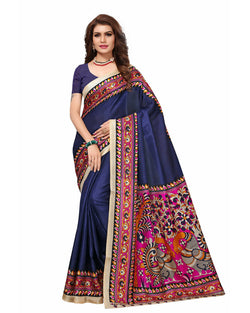 Muta Fashions Women's Unstitched Khadi Silk Navy Blue Saree $ MUTA1487