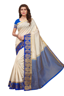 16to60trendz Beige and Blue Tusar Silk Handloom Art Work Kanjivaram saree $ SVT00030