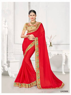 Umang NX Red Art Silk Designer Embroidery Sarees $ UN5966