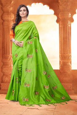 YOYO Fashion New Latest Joya silk Green Embroidered Saree With Blouse $YOYO-SS-SARI2648