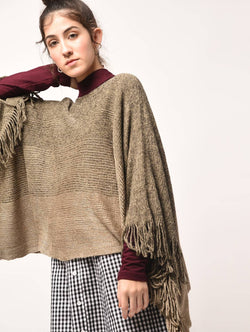 Aiyra Brown Color wollen fringed edge boat neck poncho $ AR15801890_free size