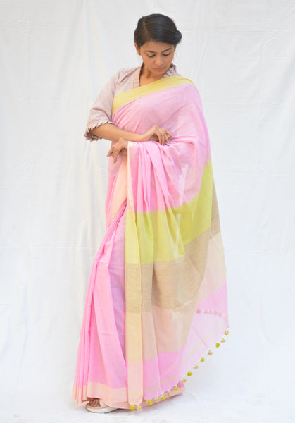 Light Pink and Lemon Yellow Khadi Cotton Saree $ IWK-PNK-01