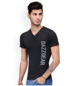 Dazzgear Men's Black V Neck MTV-46 T-Shirt