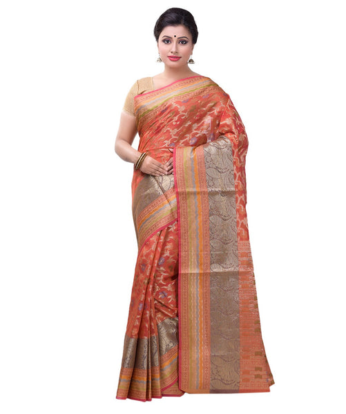 Varuna orange cotton blend saree FIBRIS018O_Orange