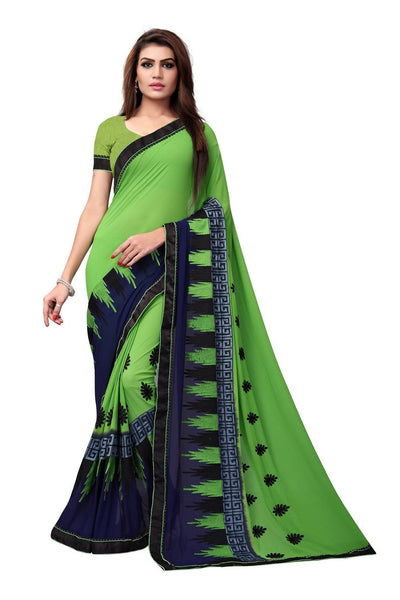 YOYO Fashion Embroidered Georgette Green Saree With Blouse $ SARI2615-Green