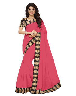 16to60trendz Pink Chanderi Lace Work Chanderi Saree $ SVT00060