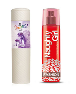 BEAUTIFUL TALC 250gm ANGELIC & Naughty Girl FASHION 135 ml (Set of 2 for Women)