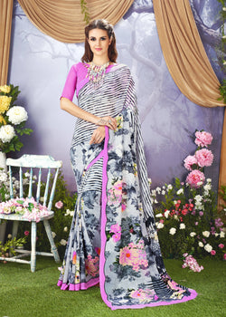 Desiner Printed Faux Georgette Saree With Blouse $ SE00128709