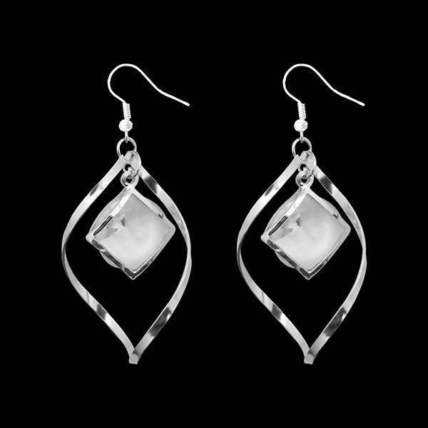 Tanishka Fashion Silver Plated White Stone Dangler Earrings $ 1310669