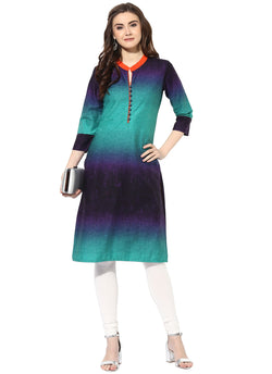 AANVI Women's Multi Cambric Tie & dye Printed Straight Kurta $ 7000004-MULTI