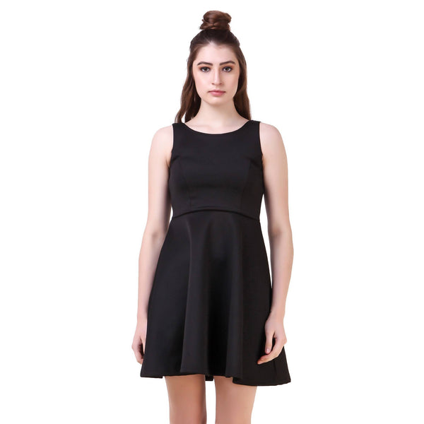 Fame 16 Sleeveless Solids Women's Round Neck Black Nylon Dress $ F16-1600159