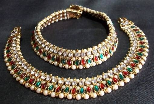 Kundan Work Gold Plated Alloy Metal Kundan Multy Gunghroo Payal $ AF788603