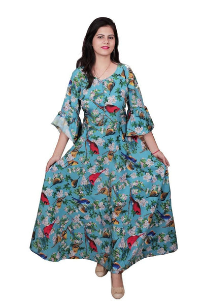 Libas Cotton Dress/Long Dress/Maxi Dress/Long Kurti Pure Rayon Fabric Long Kurti/Maxi Dress with Flower print3/4 Sleeves with Frills $ Libas-063