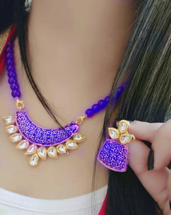 Ankita Fashion Gold Plated Beads Geet Blue Pendant set $ AF78861257