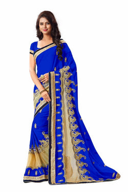 16to60trendz Blue Georgette Embroidery Designer Saree $ SVT00261