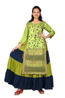MV FASHION Reyon Cotton Embroidered & Printed Blue/Green Gown $ MV_G_1204