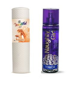 BEAUTIFUL TALC 250gm PLEASING & Naughty Girl TOUCH 135 ml (Set of 2 for Women)
