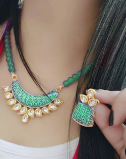 Ankita Fashion Gold Plated Beads Geet Green pendant set $ AF78861260