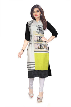 Manvi Fashion Women's Designer Partywear Multi Color American Crepe Fabric Digital Printed Readymade Kurti $ MF 2832