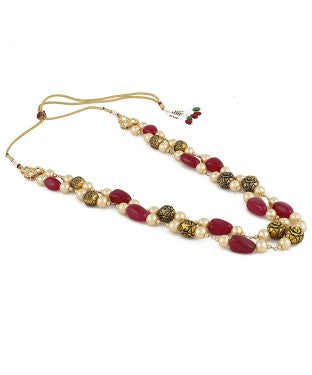Aradhya Beads, Onyx, Pearl Brass Plated Brass, Metal, Copper Necklace