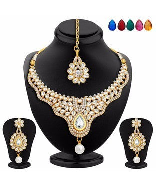 Sukkhi Creative Gold Plated AD Necklace Set with Set of 5 Changeable Stone