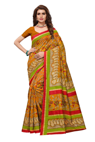 16TO60TRENDZ Yellow Color Printed Bhagalpuri Silk Saree $ SVT00471