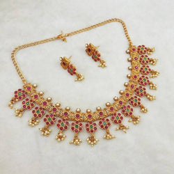Tanishka Fashions Maroon And Green Pota Stone Copper Necklace Set