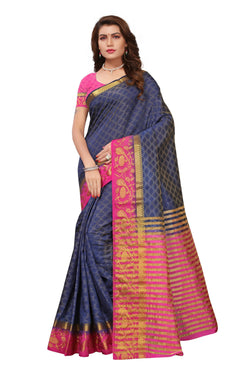 16to60trendz Navyblue and Pink Tusar Silk Handloom Art Work Kanjivaram saree $ SVT00040