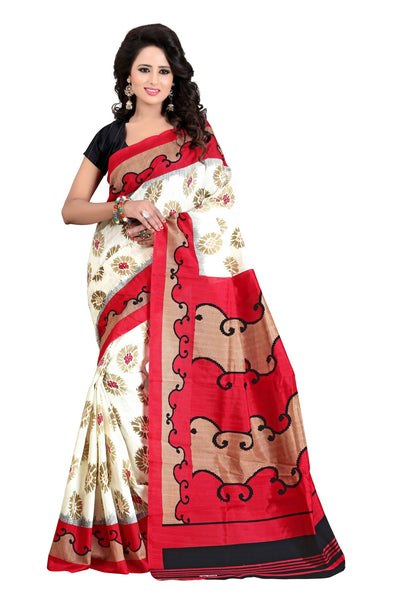 16TO60TRENDZ Red Color Printed Bhagalpuri Silk Saree $ SVT00425