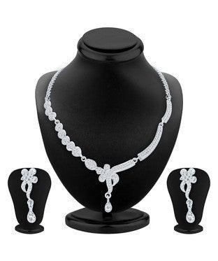 Sukkhi Appealing Rhodium Plated AD Necklace Set For Women