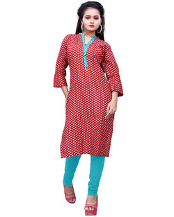 Muta Fashions Women's Stitched Polyster Cotton Red Knee length kurta $ KURTI411