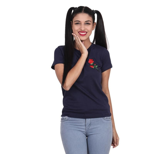 Second Half Navy Blue Top with Rose Patch-SH0055
