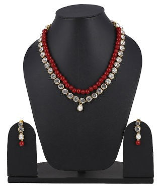 aradhya Brass, Metal Jewel Set (Red)