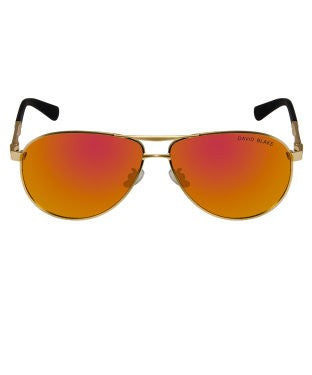 David Blake Yellow Aviator Mirrored Sunglass