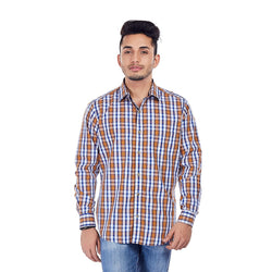EVOQ Multi-Coloured Chequered Shirt With Smart Spread Collar, Horn Buttons-Ochre Skies_Multi-Coloured