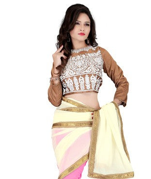 Faux Georgette Saree with Blouse