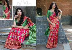 Fashion Zonez Patola weving work Banarasi Patola Silk Red Designer Saree With Blouse $ FZ 2734