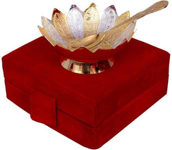 Gold Plated Bowl with Gold Plated Spoon and Gold Plated Tray (Set of 2 Pics, Gold) with Velvet Box Packing Exclusive Gift Items for Diwali Gift, Wedding Gift and Corporate Gift $ IGSPBR105