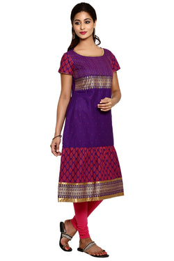 Mytri Women's Violet Cambric Printed A-Line Kurta $ 9000494-VIOLET