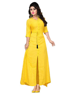 Muta Fashions Women's Stitched Casual Crepe Yellow Kurti $ KURTI346