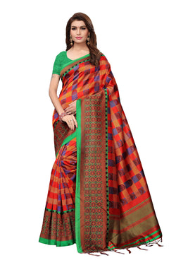 16to60trendz MultiColor Art Silk Printed Mysore Art Silk Saree $ SVT00207