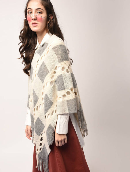 Aiyra White Color wollen Cut Out Detail Checkered Poncho $ AR15801887_free size