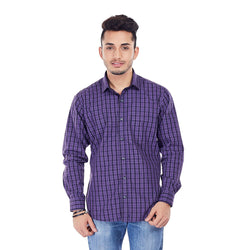 EVOQ Men's Dual Toned Checkered Shirt With Left Patch Pocket And Full Sleeves-The Purple Rush_Purple