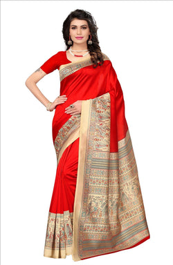 BL Enterprise Women's Bhagalpuri Cotton Silk Kalamkari Red Color Saree With Blouse Piece $ BLLB-32