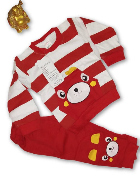 Cute Animal Printed Bear Twin Set Little Boy Girl Two Piece Set Tshirt & Pant for Baby Kids_Red $ CP-KA12
