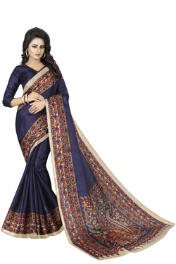 Muta Fashions Women's Unstitched Khadi Silk Navy Blue Saree $ MUTA1475