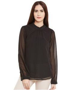 Miway Black Viscose Georget Top