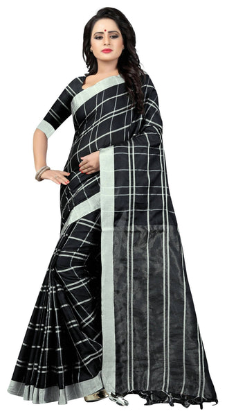 YOYO Fashion Latest Fancy Linan Cottan Black  Saree $ YO-SARI2584